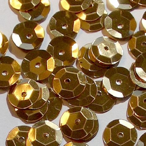 8mm Metallic Gold Semi-cupped Sequins x 20g